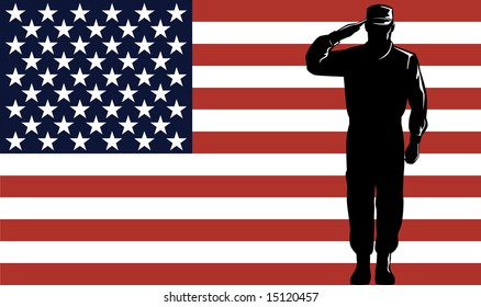 Military service man and flag