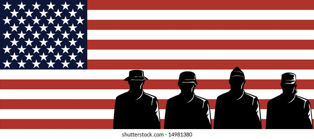Military servicemen and flag