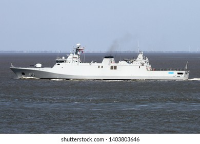 The military ship Allal Beb Abdellah passes on 15 April 2019 Cuxhaven and continues towards the North Sea.