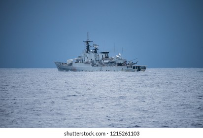 Military ships doing naval operations at sea in the mediterranean