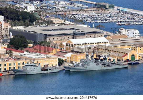 Military ships in the port of Cartagena, Spain