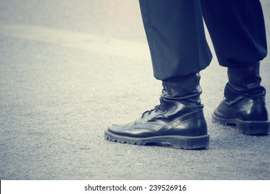 Military shoes and legs