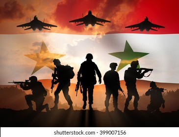 Military silhouettes of soldiers and airforce against the backdrop of the Syrian flag.