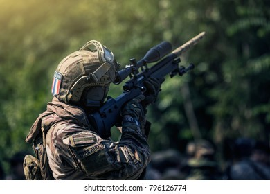 Military soldiers with sniper