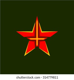 Military star symbol. Red star shape emblem with cross or sword inside.
