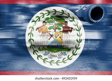 military strength theme, motion blur tank with Belize flag