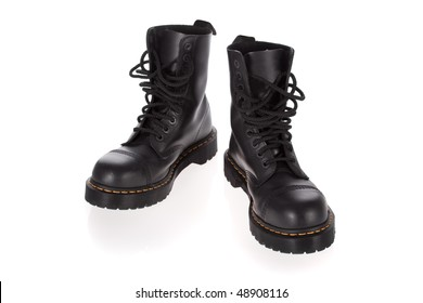 Military style black boots isolated on white background