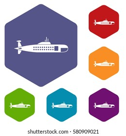 Military submarine icons set rhombus in different colors isolated on white background