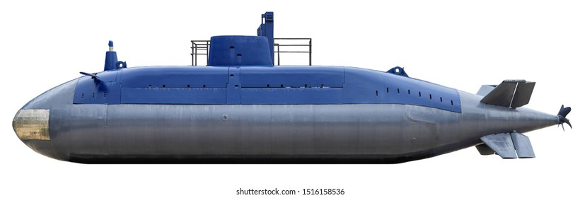 Military submarine. Isolated on white background