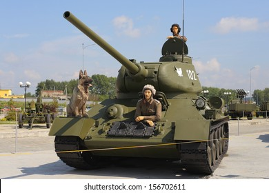 Military tank with crew