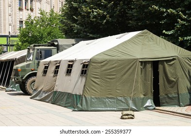 Military tent on the street