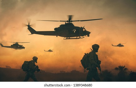 Military troops and helicopter on the way to the battlefield in sunset.