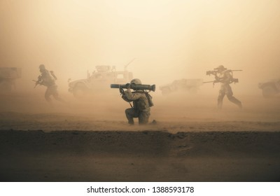 Military troops and machines on the way to the battlefield in desert.