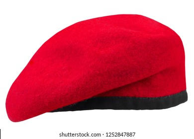military troops maroon beret isolated