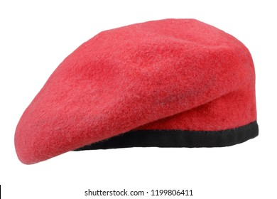 military troops red beret isolated