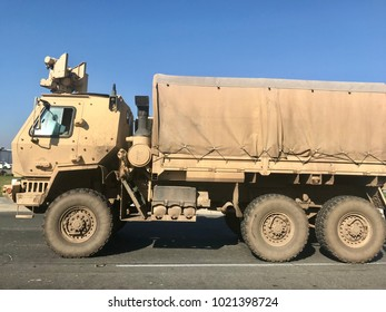 Military truck on the road
