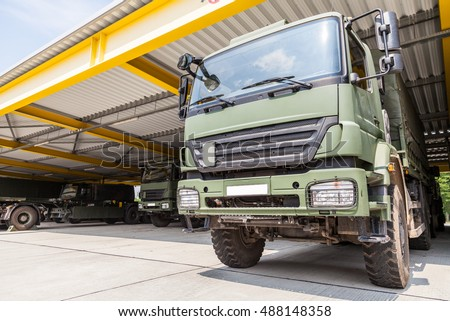 military truck stands under