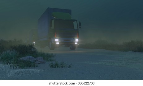 Military trucks with luminous headlights move on a desert road at night. Low angle view. Realistic 3D illustration was done from my own 3D rendering file.