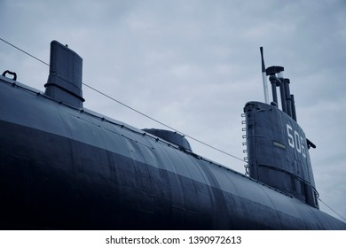 military u boat cruisers in the row - Part of submarine from World War 2