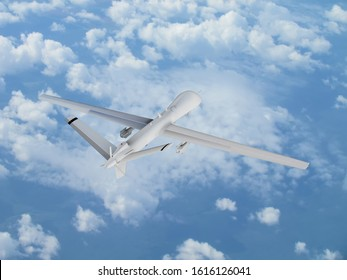 military UAV airplane drone flies against backdrop of beautiful clouds on blue sky background