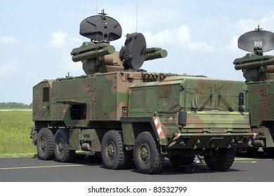 Military vehicle with anti-air missile system.