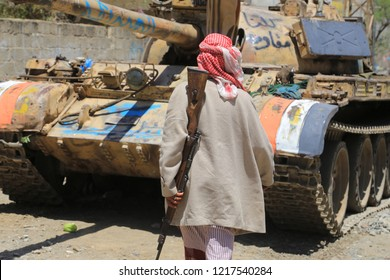 A military vehicle involved in fighting in Yemen