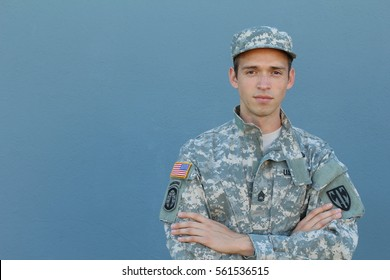 Military Veteran Isolated on Blue Background
