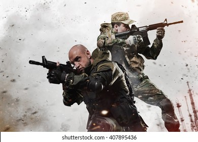 Military, war, conflict, soldiers - Two Special forces soldiers men take aim on machine gun