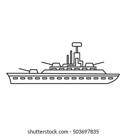 Military warship icon in outline style isolated on white background  illustration
