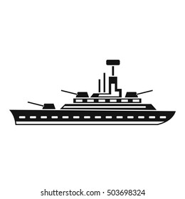 Military warship icon in simple style isolated on white background  illustration
