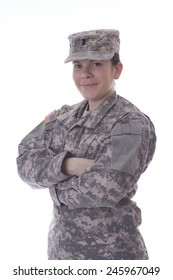 Military woman fold her arms, studio  on