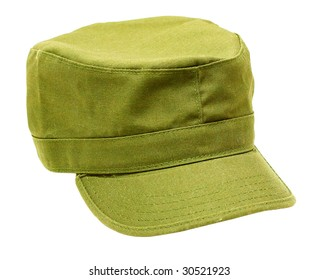 Military-style cap isolated on white background