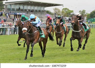 Militia ridden by Paul Hanagan and trained by Richard Fahey winning the 5f Maiden Stakes at Thirsk : Thirsk Racecourse, North Yorkshire, UK : 8 May 2018