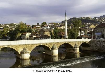 Miljacka river with bridge, Sarajevo, Bosnia and Herzegovina