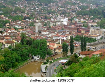 Miljacka River and the Cityscape of Sarajevo as seen from the Yellow Fortress, Sarajevo, Bosnia and Herzegovina, Balkans
