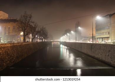 Miljacka river in Sarajevo during night