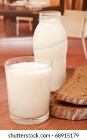 Milk and black bread for the table