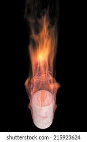 Milk bottle in fire. realistic. isolated on black background. 3d illustration