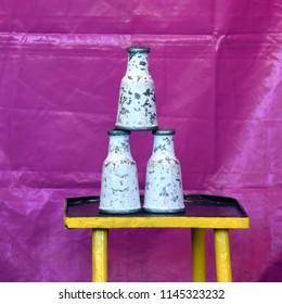 Milk bottle game at fair