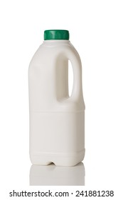 Milk Bottle with Green Cap Isolated on White Background.