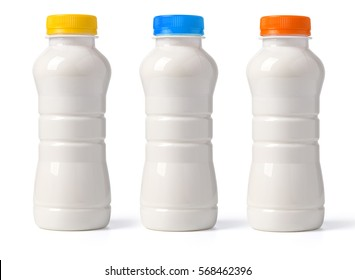 milk bottle isolated on white with clipping path