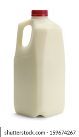 Milk Bottle with Red Cap Isolated on White Background.