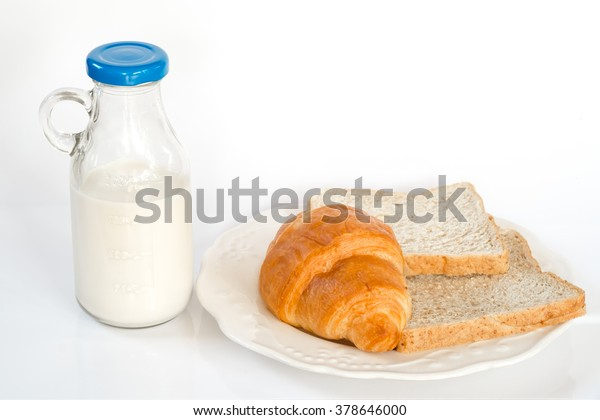 Milk Bottles Croissant Bread On White Stock Photo Edit Now