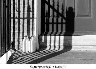 Milk Bottles outside on door step