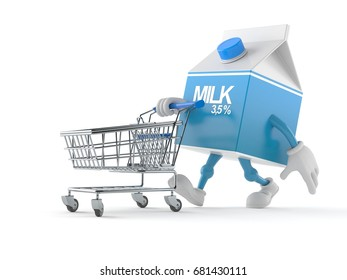 Milk box character with shopping cart isolated on white background. 3d illustration