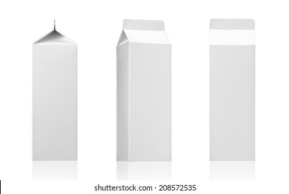Milk box or juice box carton packages Blank White. Paper cardboard brick package for beverage diary products. Ready for your design. Packaging collection - Realistic photo image