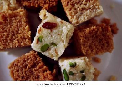 Milk Cake (Kalakand) Indian sweet dessert