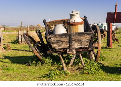 milk can at an old carriage