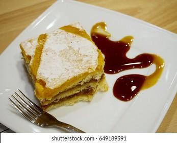 Milk caramel cake in a plate