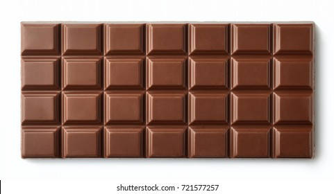 Milk chocolate bar isolated on white background from top view